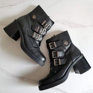 HARLEY DAVIDSON Black Buckle Ankle Moto Boots 10 M